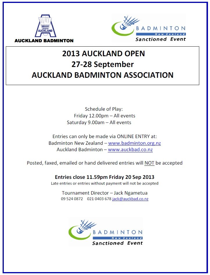 2013 Auckland Open on 27-28 Sep